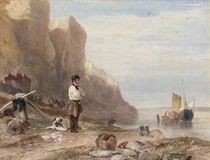 A man and his dog before the East cliffs, Hastings