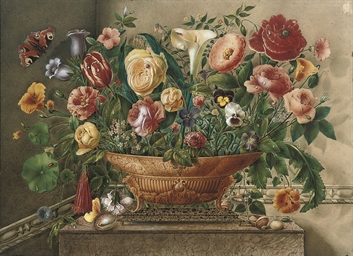 Still life of flowers, includi