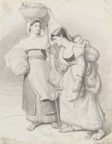 Study for a group of figures in 'Pilgrims arriving in sight of Rome'