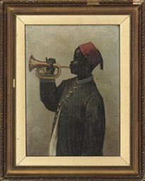 A young boy playing a bugle