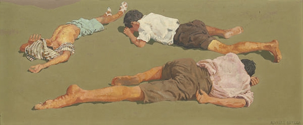 Three boys sleeping in the sun