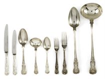 A VICTORIAN SILVER PART TABLE SERVICE OF KING'S PATTERN FLATWARE