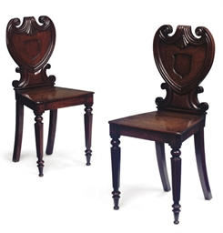 A PAIR OF GEORGE IV CARVED MAH