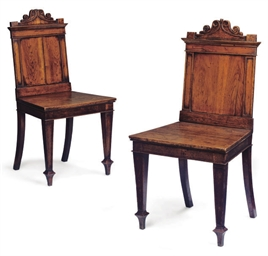 A PAIR OF MID VICTORIAN OAK HA