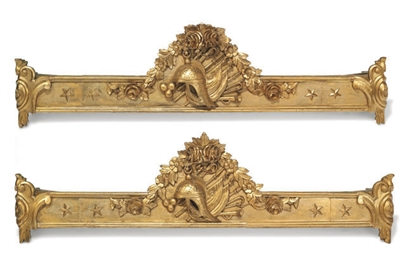 A PAIR OF GILTWOOD PELMETS IN