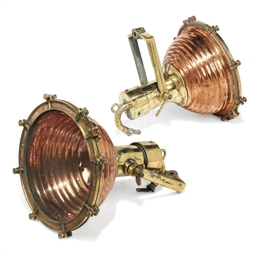 A PAIR OF COPPER AND BRASS SEA