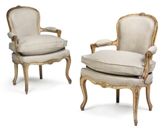 A PAIR OF FRENCH CREAM PAINTED