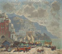 View of Amalfi in the morning light