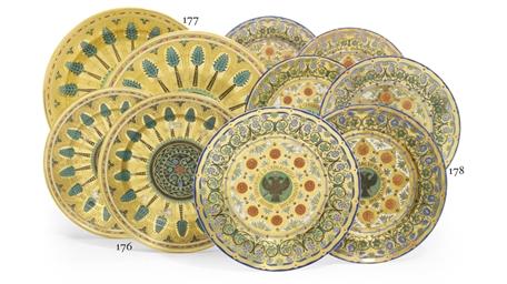 A set of six porcelain dessert