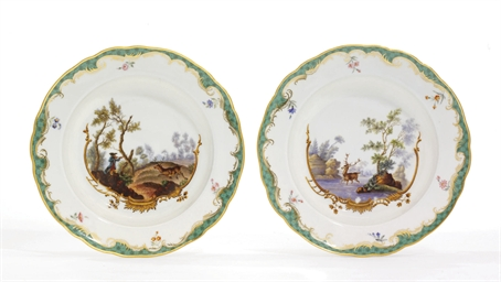 A pair of porcelain soup plate