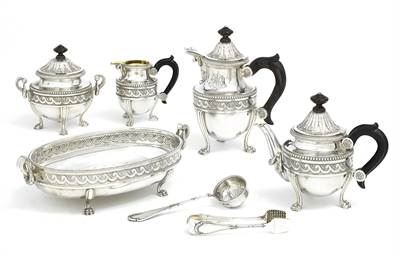 A seven-piece silver tea and c