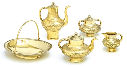 A five-piece silver-gilt tromp