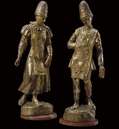 A PAIR OF CARVED SILVER GILT (