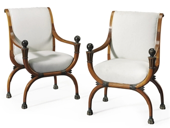 A PAIR OF DIRECTOIRE FRUITWOOD