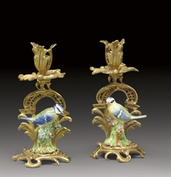 A PAIR OF FRENCH ORMOLU AND EN