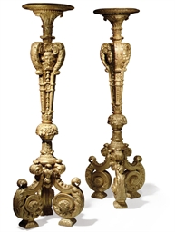 A PAIR OF FRENCH GILTWOOD TORC