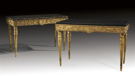 A PAIR OF TWO ITALIAN GILTWOOD