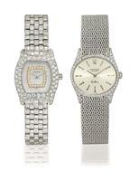 DELANEAU, ROLEX  SET OF TWO LADY'S WHITE GOLD AND DIAMOND-SET QUARTZ/MANUALLY-WOUND BRACELET WATCHES