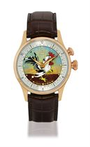 VULCAIN, CLOISONNÉ ENAMEL, COQ  PINK GOLD MANUALLY-WOUND WRISTWATCH WITH ALARM AND ENAMEL CLOISONNÉ DIAL, LIMITED EDITION OF 25