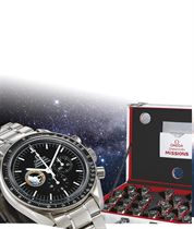OMEGA, SPEEDMASTER MISSIONS COLLECTION  SET OF 23 STAINLESS STEEL AUTOMATIC CHRONOGRAPH BRACELET WATCHES WITH PLASTIC ENCASED DISPLAY CALIBRE AND SPACE SUIT SUITCASE, SPECIAL EDITION SET OF 40 MADE TO CELEBRATE THE SPEEDMASTER PROFESSIONAL'S 40TH ANNIVERSARY