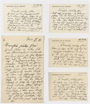 FREUD, Sigmund (1856-1939). Autograph letter signed and four autograph correspondence cards signed ('Dr Freud') to an unidentified recipient [Elise Gomperz, wife of the philosopher and classicist Theodor Gomperz], Vienna, 25 July 1892 - 22 January 1893, together 3 pages, 8vo, and 6 pages, 12mo.