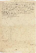 LA FONTAINE, Jean de (1621-1695). Autograph document signed ('De la fontaine'), n.p. [Chateau Thierry], 6 October 1656, a receipt for a payment of 40 livres and 5 sous from Antoine le Giun as purchaser of 40 arpents of coppice wood from the bois de Barbillon in the year 1656, 'dont je promets luy faire tenir compte sur mes gages de lad[ite] année qui ont esté escheus au iour de Saint iean dernier par Le Sieur du  Lin receveur general de madame la duchesse de Bouillon', 9 lines written in brown ink on one page, folio, contemporary endorsments on upper margin and verso, integral leaf removed.