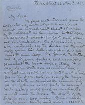 LIVINGSTONE, David (1813-1873). Autograph letter signed (twice, 'David Livingstone' and 'D. Livingstone') to an unidentified correspondent [the Prime Minister, Henry Temple, 3rd Viscount Palmerston], River Shire [i.e. Zambesi], 12 November 1861, 12 pages, 4to, on blue paper.