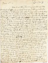 LOCKE, John (1632-1704). Autograph letter signed ('J. Locke') to [William] Charleton [the assumed name of William Courten], Lyon, 5 November 1678, 3 pages, 4to, address panel, docketed by the recipient, fragment of seal. Provenance: Maggs Bros Catalogue no. 616 (1935), no. 982 (one of 6 letters by Locke of which five were addressed to Charleton); Sotheby's sale, 18 November 1974, lot 391.