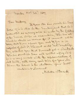 Nelson Horatio Viscount 1756 1805 Autograph Letter