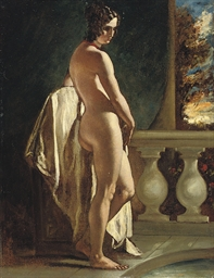 Female nude on a balcony