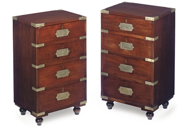 A PAIR OF MAHOGANY AND BRASS M