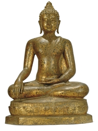 A THAI GILT BRONZE SEATED BUDD