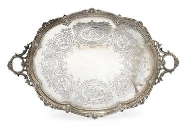 A VICTORIAN SILVER SHAPED OVAL