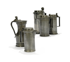 FOUR FRENCH PEWTER MEASURES