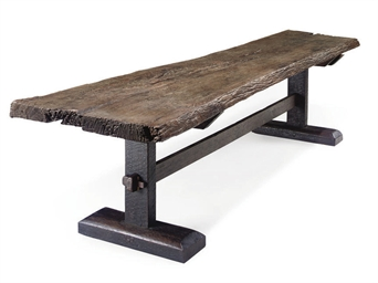 A HARDWOOD REFECTORY TABLE