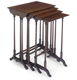 AN EDWARDIAN SET OF MAHOGANY A