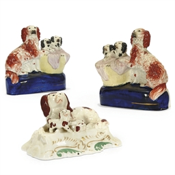 A PAIR OF STAFFORDSHIRE SPANIE