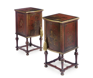 A PAIR OF RED JAPANNED BEDSIDE
