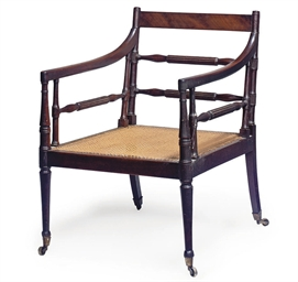 A REGENCY MAHOGANY AND CANED B