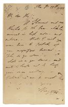BYRON, George Gordon, 6th Baron (1788-1824). Autograph letter signed ('Byron') to Captain John Hay, Pisa, 19 January 1822, 'A Thousand and one thanks for the boar -- which has arrived in high order -- and entire', regretting that Hay is not there to share in his 'magnifique present', adding that he is writing in haste 'not to keep your man waiting', one page, 8vo.