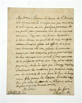 CHARLES II (1630-1685), King of England, Scotland and Ireland. Autograph letter signed ('Vostre bon frere  Charles R') to the Duchess Regent of Savoy [Marie-Jeanne of Savoy-Nemours], London, 20 December 1677, in French, sending, in response to her request, 'Sieur Somes' as his envoy 'pour prendre soin de nos interests commun', and asking her to give him her trust, especially when conveying Charles's esteem and his pleasure in serving the Duke of Savoy's interests, one page, small 4to, autograph address leaf, small red wax seals on remains of silk cords, contemporary docket; in a red cloth slipcase.
