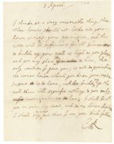 CHARLES II (1630-1685), King of England, Scotland and Ireland. Autograph letter signed ('your kind father  C.R.') to [his illegitimate daughter Charlotte, Countess of Lichfield], n.p., 3 April [1683], one page, 4to, autograph address leaf, red wax seal.