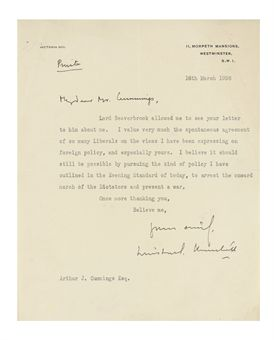 CHURCHILL, Sir Winston Spencer (1874-1965). Typed letter signed ('Winston S. Churchill') to Arthur John Cummings, 11 Morpeth Mansions, 18 March 1938, responding to the sight of a letter from Cummings to Lord Beaverbrook, 'I value very much the spontaneous agreement of so many Liberals on the views I have been expressing on foreign policy, and especially yours. I believe it should still be possible by pursuing the kind of policy I have outlined in the Evening Standard of today, to arrest the onward march of Dictators and prevent a war', one page, 4to; [with] a telegram from Churchill to Cummings, 27 February 1943, expressing thanks. Provenance: by descent from Arthur John Cummings.