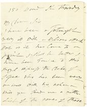 HAMILTON, Emma, Lady (1761-1815). Autograph letter signed ('Emma Hamilton') to an unidentified recipient ('My Dear Sir'), 150 Bond Street, n.d. ('Thursday'), giving news of illnesses suffered by herself ('I have been very ill with a Bilious attack') and Horatia ('Horatia has had a bad Cough which has made me uneasy for I feard the Hooping Cough'), reporting on two visits to the Duke of Sussex, 'I am writing from the morning tell night for I am fully Determined to bring my claims before the publick John Bull is not ungrateful for services rendered to Him & his Country'; she longs to go and see 'Dear Mrs Russell ... for I want Quiet of Body & mind', 4 pages, 4to, on a bifolium.