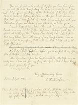 RICHARDSON, Samuel (1689-1761). Autograph letter signed to [the Reverend Benjamin Kennicott, a rellow of Exeter College, Oxford], London, 15 July 1754, 3 pages, 8vo.