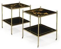 A PAIR OF BLACK AND GILT-JAPANNED TWO-TIER BRASS ETAGERES