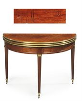 AN EMPIRE BRASS-MOUNTED ACAJOU MOUCHETE AND MAHOGANY DEMI-LUNE CARD-AND TEA-TABLE