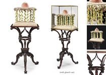 A GEORGE III MAHOGANY TRIPOD STAND WITH MICA AND SHELLWORK TEMPLE