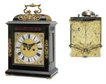 A WILLIAM AND MARY BRASS-MOUNTED EBONY STRIKING EIGHT DAY TABLE CLOCK WITH PULL QUARTER REPEAT AND UNUSUAL PENDULUM LOCKING SYSTEM