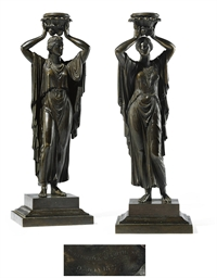 A PAIR OF WILLIAM IV BRONZE FI